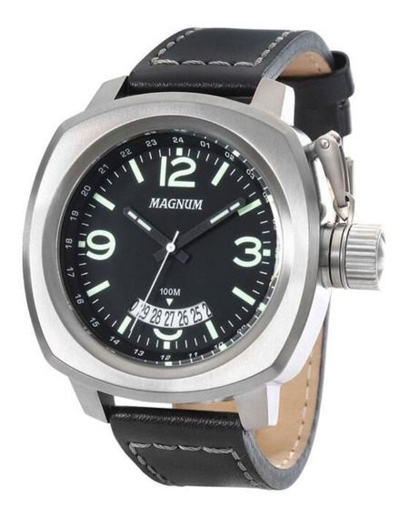 Relógio Magnum Masculino Ma34138p Prata Couro Analogico