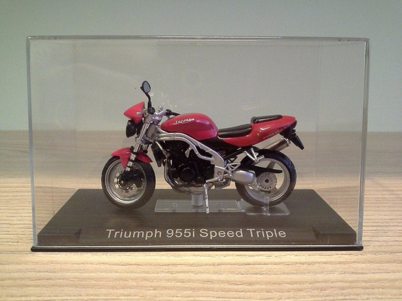Miniatura Moto Triumph 955i Speed Triple Cor Vermelha 1:24