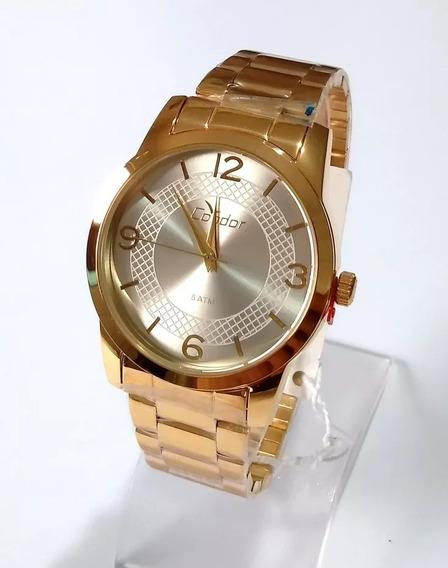 Relógio Feminino Dourado Condor Original Co2035klp