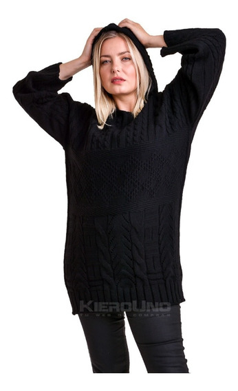 Sweater Con Capucha Saco Lana Negro Kierouno