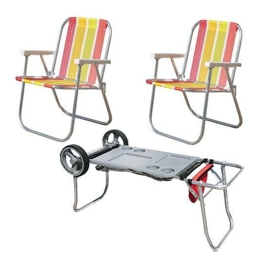 Kit 2 Cadeiras Praia Alta + Carrinho Mesa De Praia