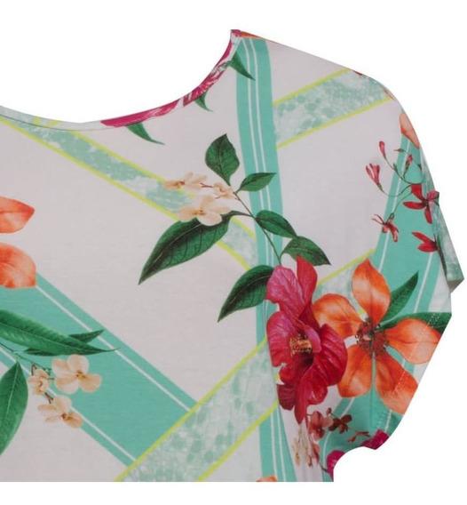 Camiseta Manga Curta Estampa Floral Decote Redondo Seiki 330