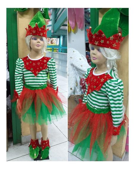 Disfraz Niña Navidad Duende Con Botas Tallas 2 Al 12 Stock