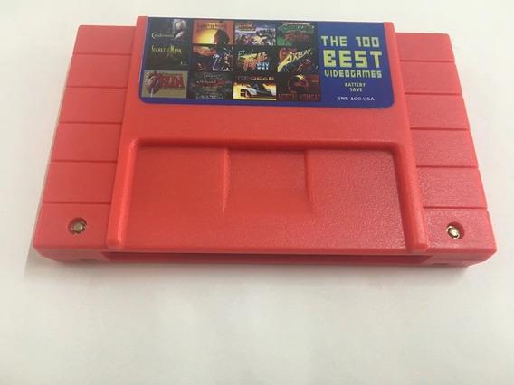 Cartucho Super Nintendo Best 100 Jogos Em 1 Bateria Mario