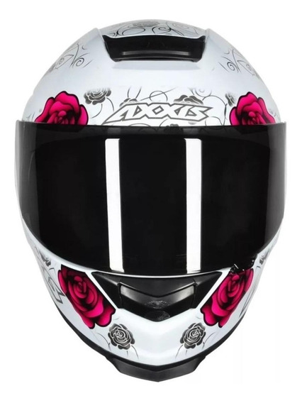 Capacete para moto integral Axxis Helmets Eagle Flowers white, pink tamanho M