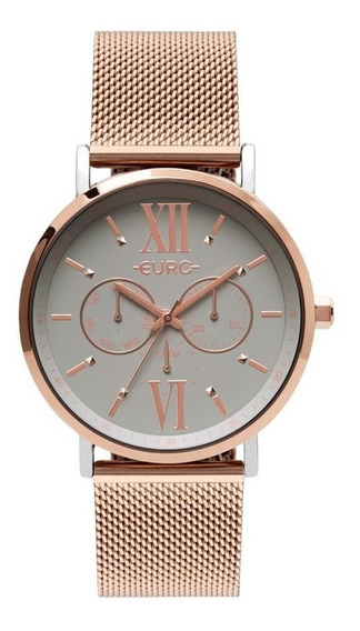 Relógio Euro Feminino Ref: Eu6p29ahabp/5k Multifunção Rosé