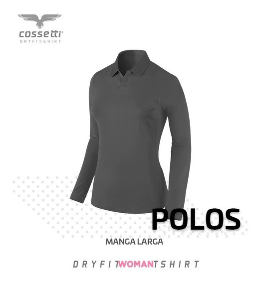 Playera Tipo Polo Cossetti Manga Larga Dry Fit Xl, 2xl, 3xl