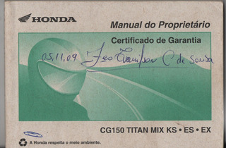 Manual Proprietári Moto Honda Cg 150 Titan Mix Ks Es Ex 2009