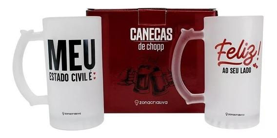 Kit Com 02 Canecas De Chopp Casal Meu Estado Civil