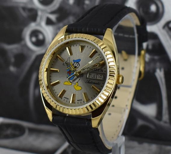 Relógio Banh A Ouro Antigo Citizen Automático Pato Donald+br