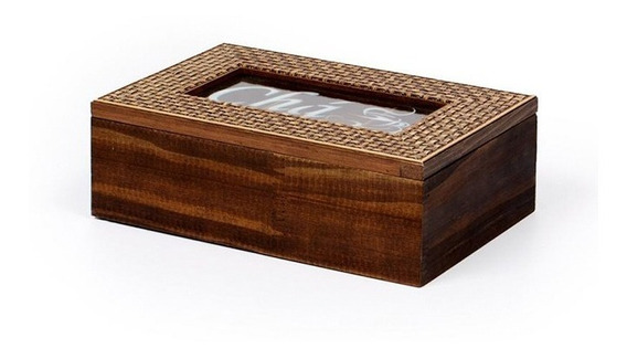 Caixa De Chá Em Madeira Com Divisórias Decorglass