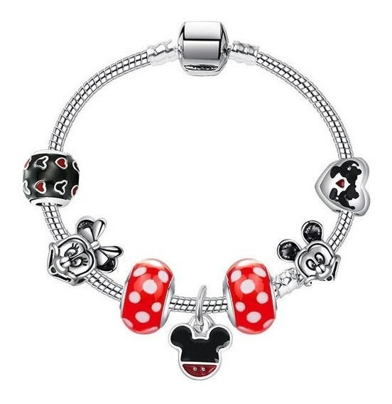 Pulsera Estilo Pandora 7 Charms Disney Minnie Y Mickey Mouse