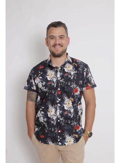 Camisa Social Manga Curta Preta Floral