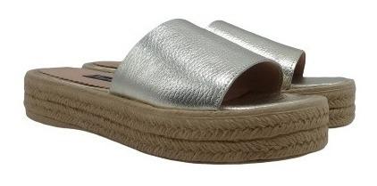 Zapato Zueco Cuero Yute Base De Goma Taco Mujer 925/em