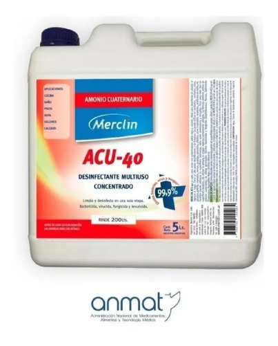 Amonio Cuaternario Acu-40 Merclin X 5 Litros. Rinde 200 Lts