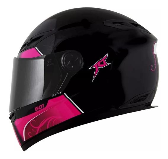 Capacete Race Tech Rt501 Evo Love Feminino Preto E Pink