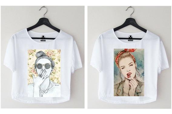 2 Blusas Para Damas A La Moda Personalizadas Crop Tops