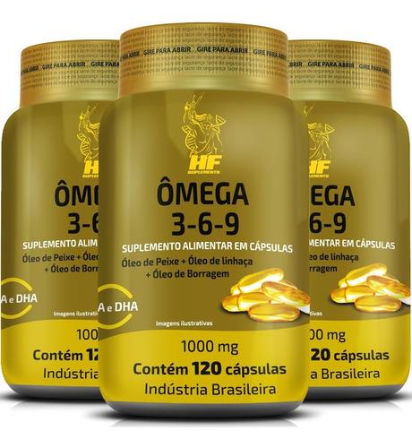 Imagem 1 de 6 de Kit 3x Omega 3-6-9 Peixe+linhaça+borragem 120caps