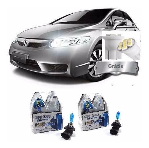 Kit Lampada Super Branca Farol New Civic 2010 Hb3 Hb4 8500k