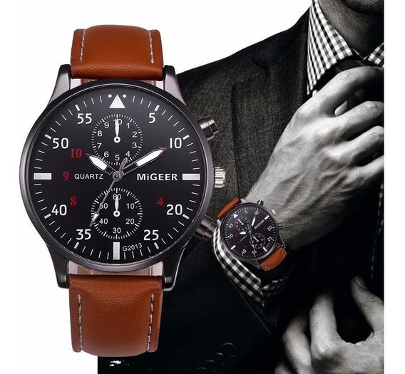 Relógio Luxo Masculino Pulso Social Pulseira Couro