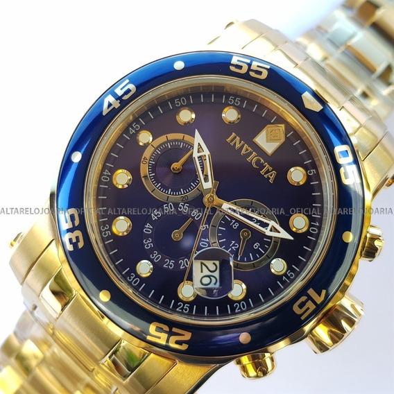 Relógio Invicta Pro Diver Troca Pulseira 23651 Plaque Ouro