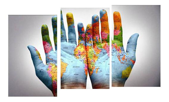 Mapa Do Mundo De 3 Painéis Em Um Par De Arte Da Parede Da P