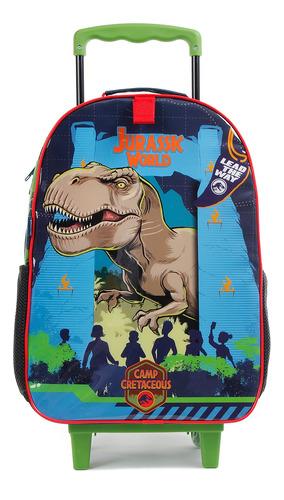 Imagem 1 de 4 de Mala Escolar Com Rodinhas Jurassic World Dinossauro
