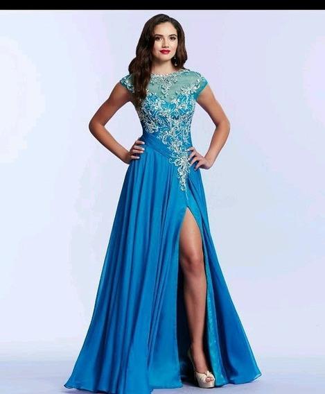 Vestido Longo Azul Turqueza