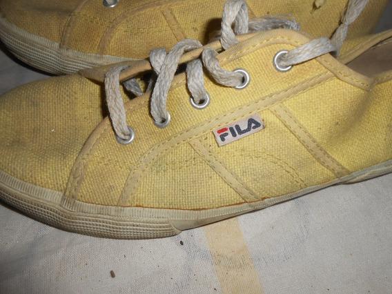 Zapatillas Fila Amarillas Tela Muy Lindas