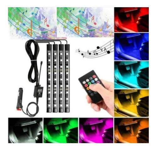 Imagen 1 de 10 de 4x Tiras Led Auto Rgb 5050 12v Ritmico 36 Led Control Música
