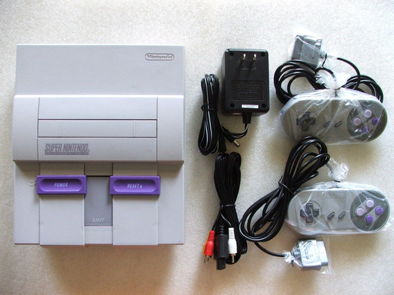 Super Nintendo + 2 Controles + A/v + Fonte! Branquinho Ainda