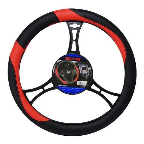 Forro Timon En Pvc Para Auto Rojo Y Negro 37-38cms 163001/5