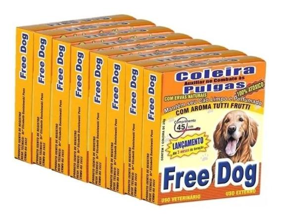 8 Coleira Auxiliar Combate Pulgas P/ Caes Cachorro Free Dog