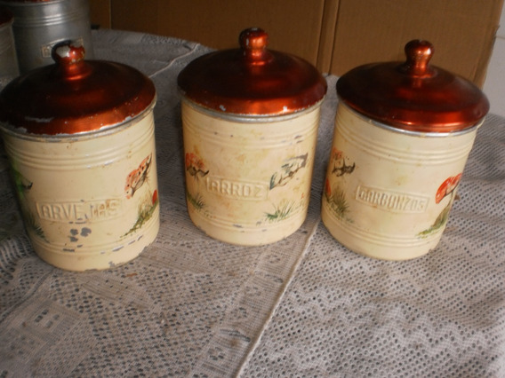 3 Antiguos Tarros De Aluminio Cocina