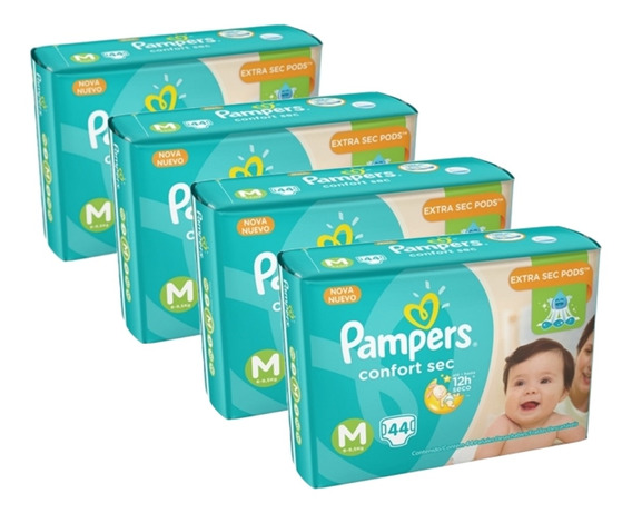 Kit 4 Fralda Infantil Pampers Confort Mega M