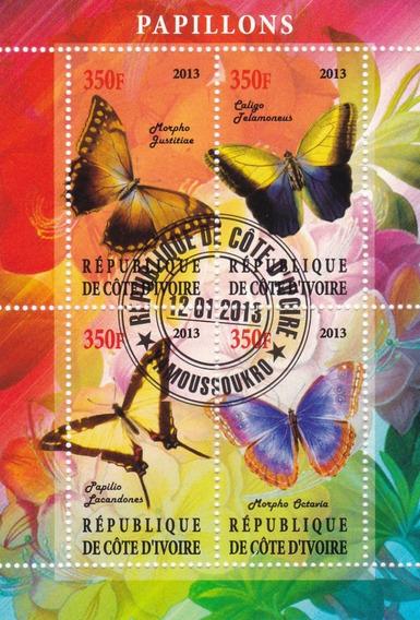 Mariposas Costa De Marfil 3 Hojitas Block Año 2013 L28