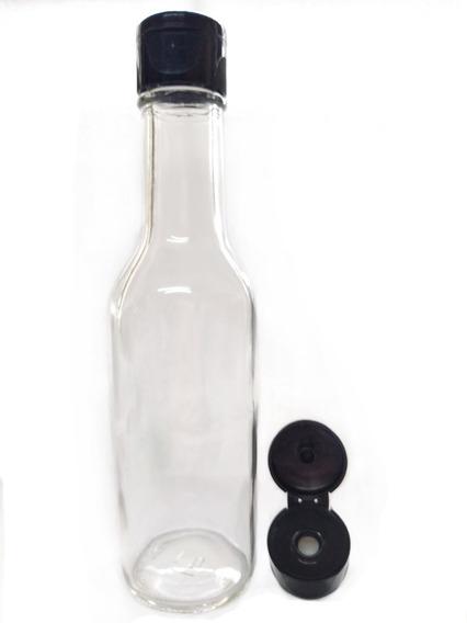 Botella De Vidrio Salsa 5 Oz 165 Ml 1 Pz Tapa Negra