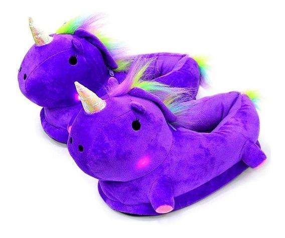 Pantuflas Unicornio Con Luz Led Con Envío Gratis