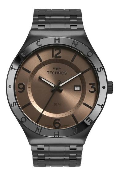 Relógio Masculino Preto Technos Steel Aço Original + Nf