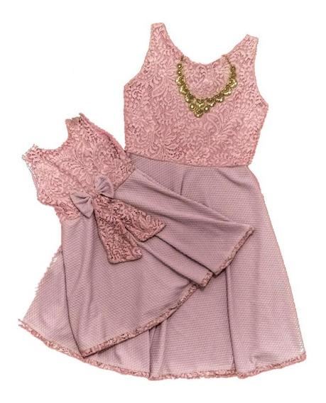 Vestido Tal Mãe Tal Filha Rodado Rosa Rendado No Peito