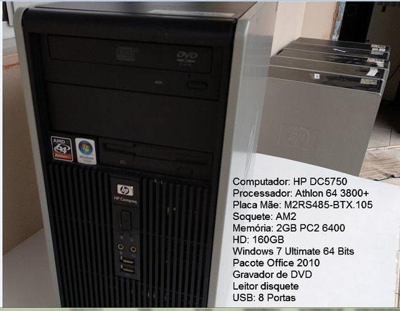 Computador Hp Dc5750 Athlon 3800+ Ddr2 2gb Hd 160