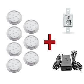 7 Luminária 9w 80mm Led Branco 6k Transp + Controle + Fonte
