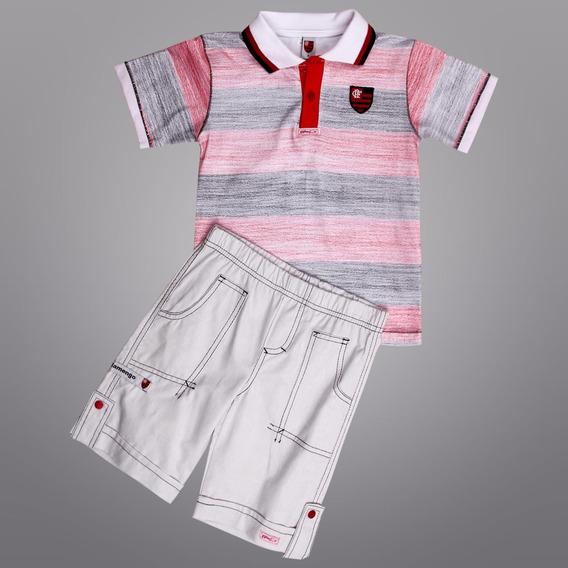 Conjunto Do Flamengo Camisa Polo E Bermuda Infantil Oficial