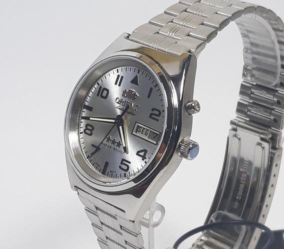 Relógio Automático Masculino Orient 469ss083 Cromado Com Fundo Cromado, Calendário Duplo Dia Da Semana E Do Mês