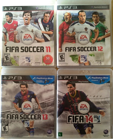 Super Kit 4 Jogos Fifa 11 12 13 14 Ps3 Original Mídia Física