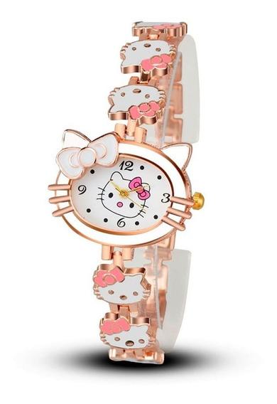 Lindo Relógio Hello Kitty Infantil Branco Rosa E Dourado