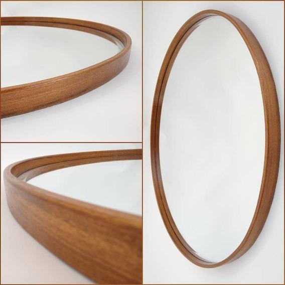Espelho Redondo De 60cm Em Madeira Freijó Frete Grátis