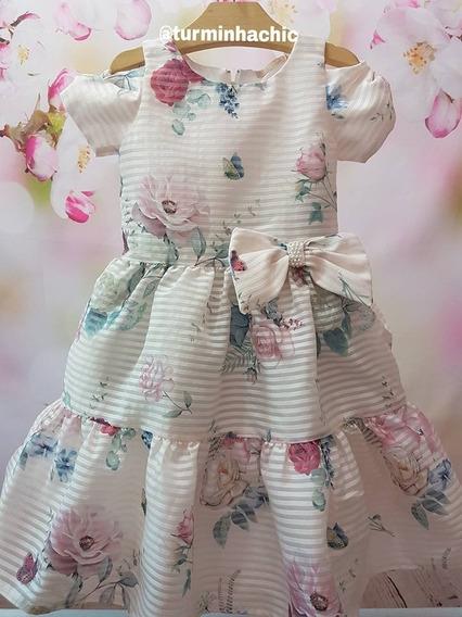 Vestido Infantil De Fresta Petit Cherie Organza Jardim Flora