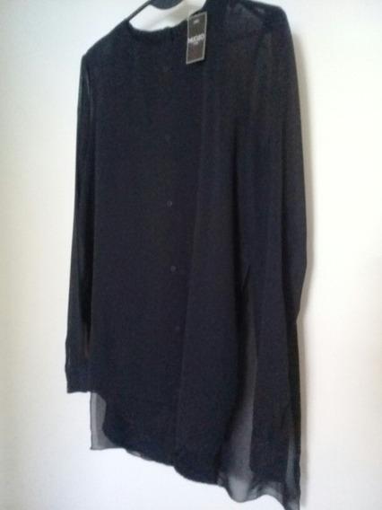 Blusa De Mujer Nucleo Talle 2 Negra Gasa Y Crepe