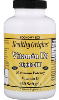 Vitamina D3 10,000ui 360 Softgels Healthy Origins Cod. 193